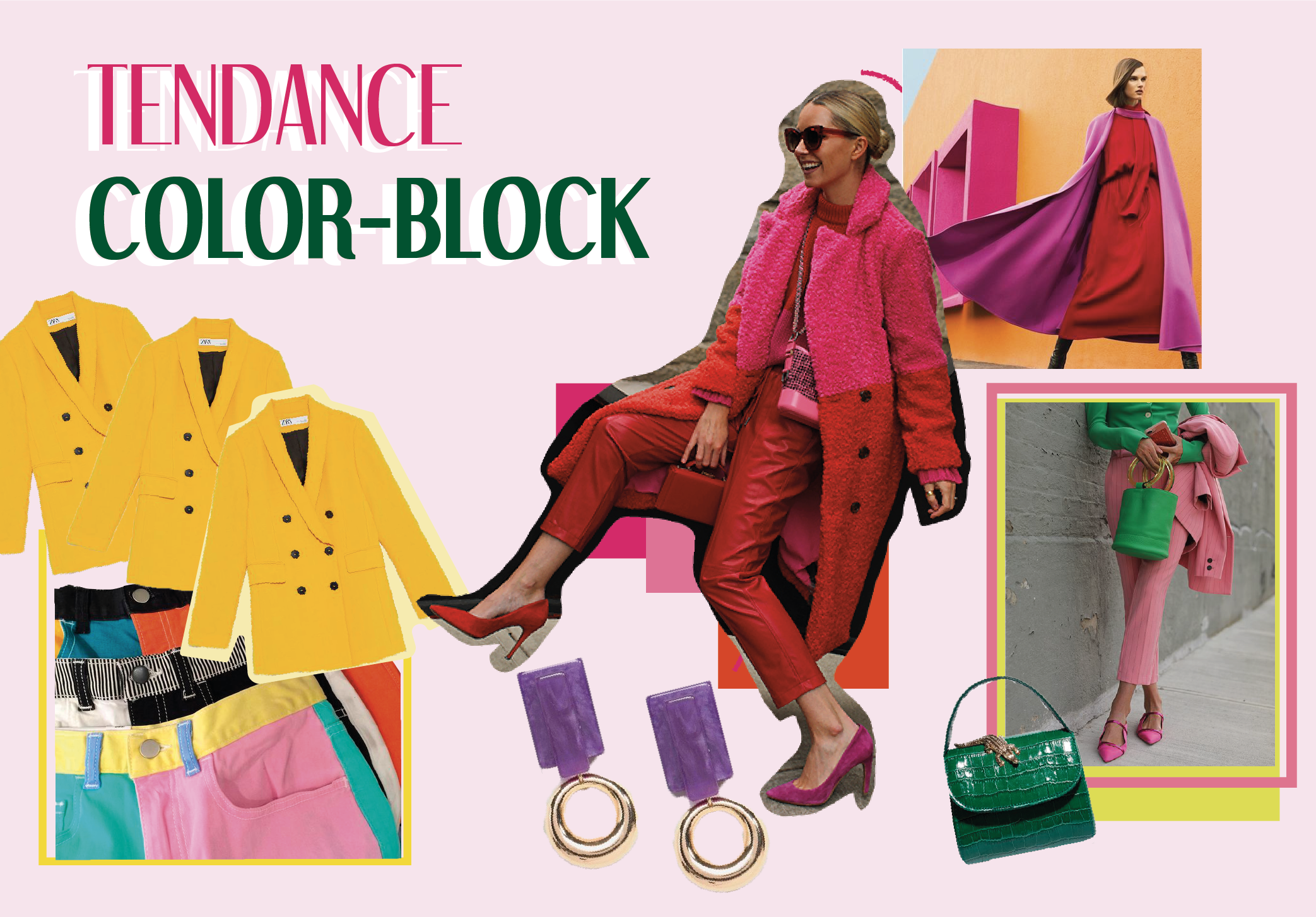 #1 tendance 3 looks : le color-block